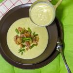 Cremesuppe von Birnen und Bohnen mit Speck