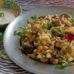 Hirse-Salat mit Auberginen, Kichererbsen und Sesamdip
