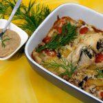 Gefüllte Schollenröllchen auf Gemüsebett mit Senf-Dill-Sauce