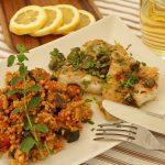 Rotbarben provenzalisch mit Zitronenbutter und Ratatouille-Couscous